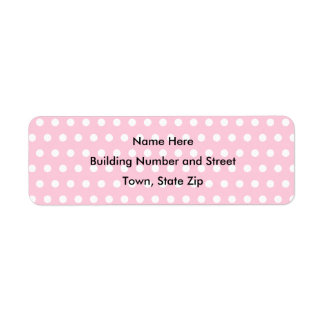 Pink and White Polka Dot Pattern. Spotty. Return Address Label