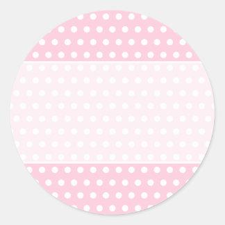 Pink and White Polka Dot Pattern. Spotty. Round Sticker