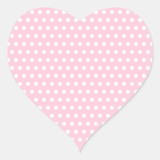 Pink and White Polka Dot Pattern. Spotty. Heart Sticker