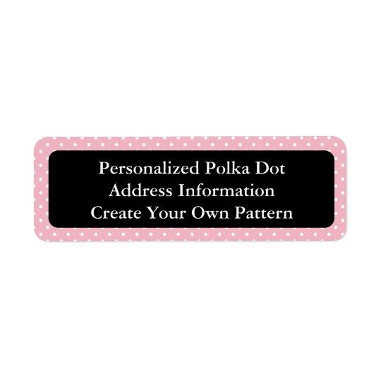Pink and White Polka Dot Return Address Label