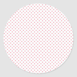 Pink and White Polka Dot Round Sticker