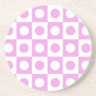Pink and White Polka Dot Squares Drink Coaster