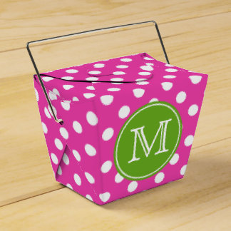 Pink and White Polka Dot With Green Apple Monogram Favour Box