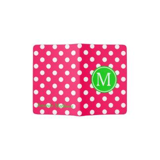 Pink and White Polka Dot With Green Monogram Passport Holder