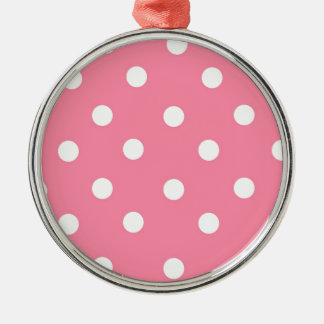 Pink And White Polka Dots Christmas Ornament