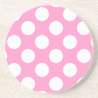 Pink and White Polka Dots Coaster