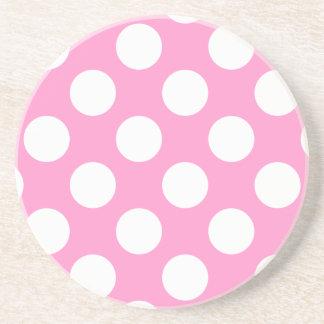 Pink and White Polka Dots Coaster