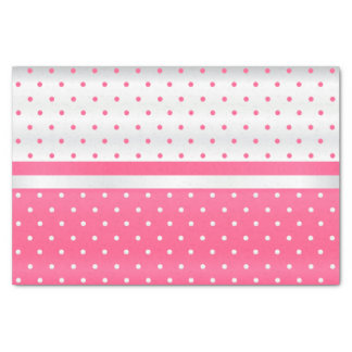 Pink and White Polka Dots Design Tissue Paper