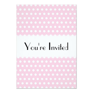 Pink and White Polka Dots Pattern. 13 Cm X 18 Cm Invitation Card