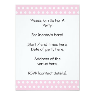 Pink and White Polka Dots Pattern. 17 Cm X 22 Cm Invitation Card