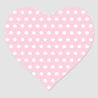 Pink and White Polka Dots Pattern. Heart Sticker