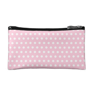 Pink and White Polka Dots Pattern. Makeup Bags