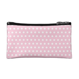 Pink and White Polka Dots Pattern Cosmetic Bag