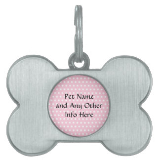 Pink and White Polka Dots Pattern. Pet ID Tag