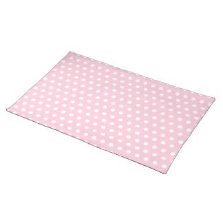 Pink and White Polka Dots Pattern. Placemats