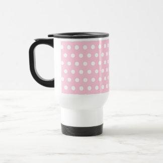 Pink and White Polka Dots Pattern. Travel Mug