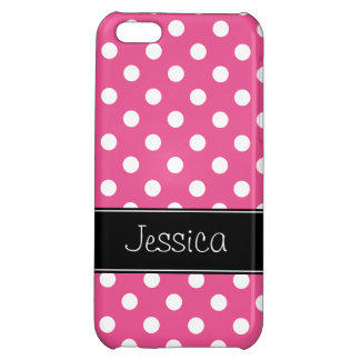 Pink and White Polka Dots Personalized iPhone 5C Cover
