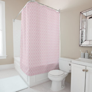 Pink and White Quatrefoil Shower Curtain