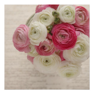 pink and white ranunculus on script poster