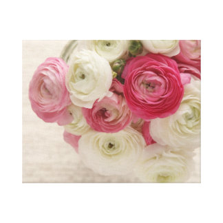 pink and white ranunculus on script wrapped canvas canvas print