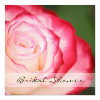 Pink and White Rose Bridal Shower Square 13 Cm X 13 Cm Square Invitation Card