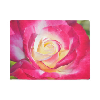 Pink and white rose doormat