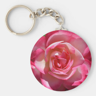 Pink and White Rose Key Chain