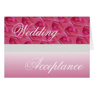 Pink And White Rose Wedding Acceptance Card