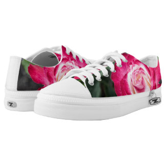 Pink and White Rose Zipz Low Top Sneakers