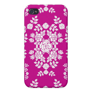 Pink and White Roses Damask Pattern iPhone 4 Cover