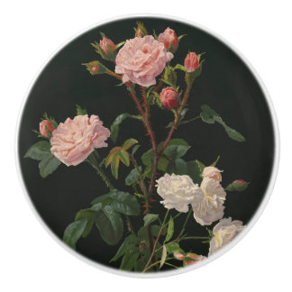 Pink and White Roses on Black Background Ceramic Knob
