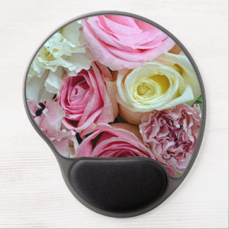 Pink and white roses print gel mousepad