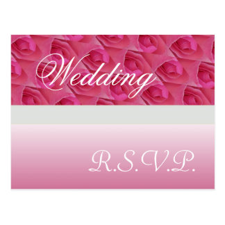 Pink And White Roses RSVP Postcard