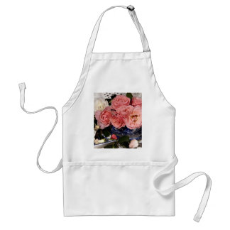Pink and white roses standard apron