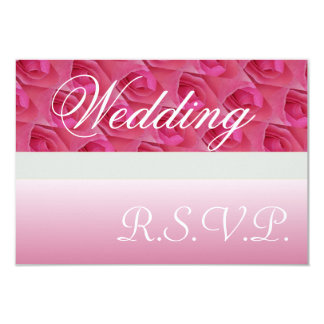 "Pink And White Roses Wedding RSVP Invitation 3.5"" X 5"" Invitation Card"