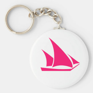 Pink and white Sailboat keychain, wedding favor Basic Round Button Key Ring