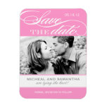 Pink and White Save the Date Magnets