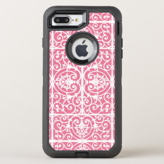Pink and white scrollwork OtterBox defender iPhone 7 plus case