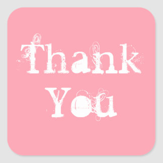 Pink and White Simple Grungy Thank You Square Sticker