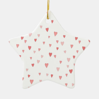 Pink and White Simple love Hearts Christmas Ornament