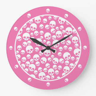 Pink And White Skull Pattern Wall Clock