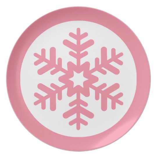 Pink and White Snowflake Plate
