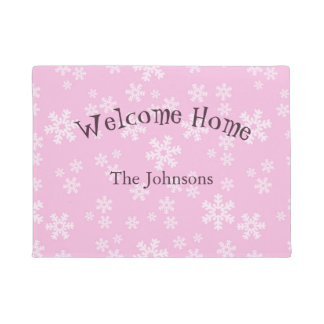 Pink and White Snowflakes Doormat