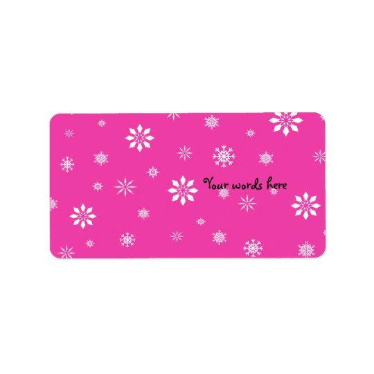 Pink and white snowflakes label