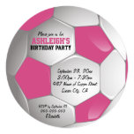 Pink and White Soccer Ball Birthday Party 13 Cm X 13 Cm Square Invitation Card