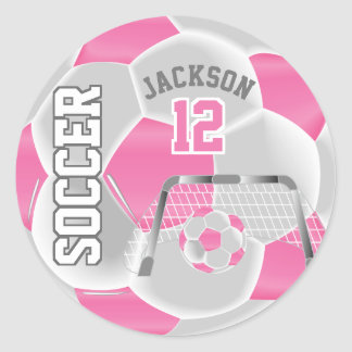 Pink and White Soccer Ball Classic Round Sticker