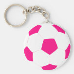 Pink and White Soccer Ball Keychain