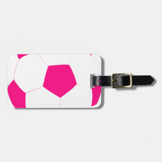 Pink and White Soccer Ball Luggage Tag