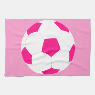Pink and White Soccer Ball Tea Towel