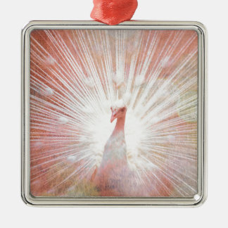 Pink and White Soft Focus Lights Peacock Christmas Ornament